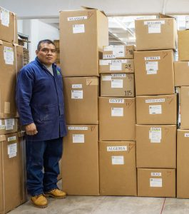Boxes of wheat seed ready for international shipping from Mexico.